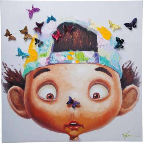 Slika Touched Boy with Butterflies 100x100x3.5 cm Cijena