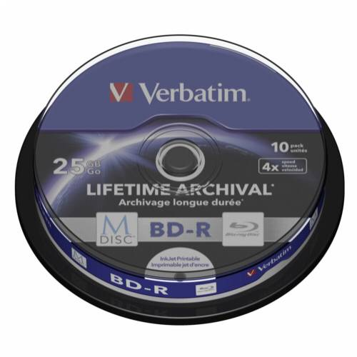 1x10 Verbatim M-Disc BD-R BluRay 25GB 4x Speed Cakebox printable Cijena