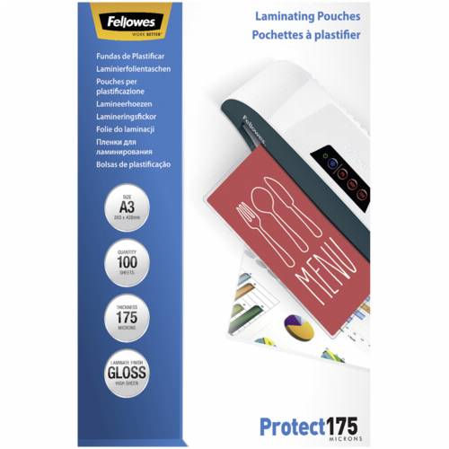 Fellowes A3 Glossy 175 Micron Laminating Pouch - 100 pack Cijena