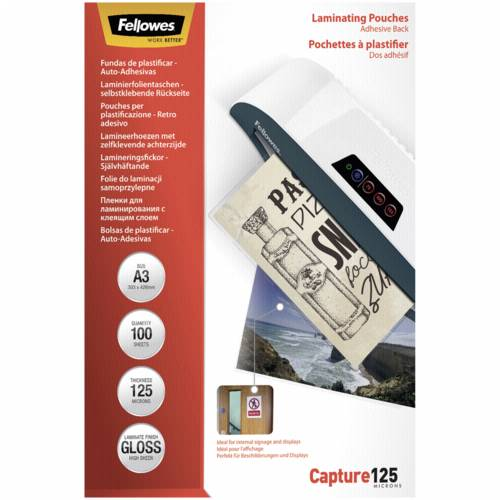 Fellowes Peel and stick pouches adhesive back, 125 micron, A3 Cijena