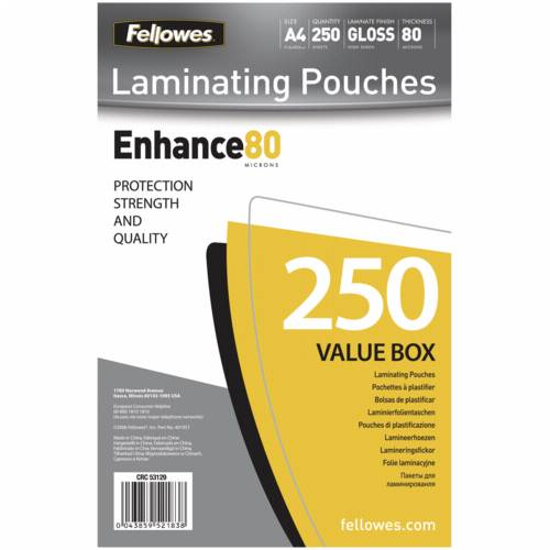 Fellowes A4 Glossy 80 Micron Laminating Pouch - 250-pack Cijena