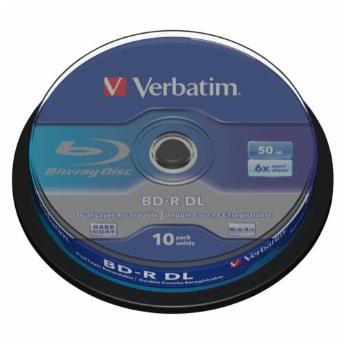 1x10 Verbatim BD-R Blu-Ray 50GB 6x Speed, white blue Cakebox Cijena