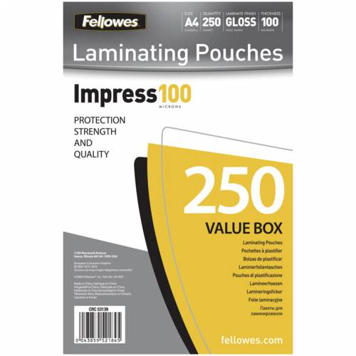 Fellowes A4 Glossy 100 Micron Laminating Pouch - 250-pack Cijena